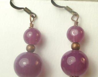 SALE, 50%, Raspberry glass beads in double dangle earrings, dangles, grape purple earrings, copper dangle earrings, holiday earrings, purple