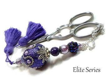 Dark Purple Scissor Fob, Scissor Keeper, Victorian Key Fob, Scissor Minder, Quilting Accessory, Cross Stitch, Needlepoint,Sewing, Tassel