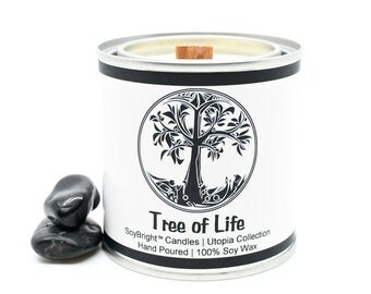 Tree of Life SoyBright™ Half Pint Paint Can Soy Wax Sentiment Candle | Eco-Friendly Wooden Wick | Unique Candle Gift | You Pick Scent - 8 oz