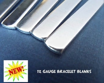 """1/2"""" x 5.5"""" 10 Cuff Blanks  12 GAUGE Metal Stamping Cuff Blank Tumbled Polished - Pure 1100 Aluminum Bracelet Blank - Flat - Made in USA"""