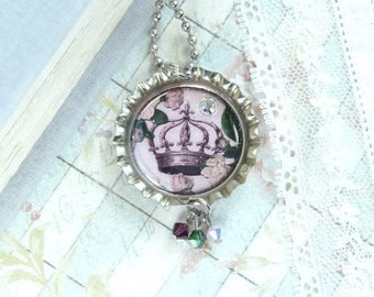 Crown Necklace French Necklace Victorian Necklace Bottle Cap Necklace Crown Jewelry Purple Necklace