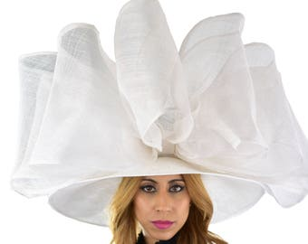 Extra Large White Hat Bow Fascinator Ascot Kentucky Derby Proms **SAMPLE SALE**