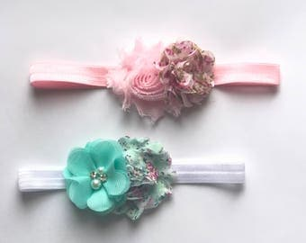 Baby Headbands..Set of Two.... SALE PRICED...Shabby Chic Floral Collection......Newborn Collection...Headband Collection