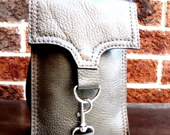 Olive green leather iPhone wallet, iPhone wristlet, Custom to fit iPhone 6, 6s, 7, 8 and X,