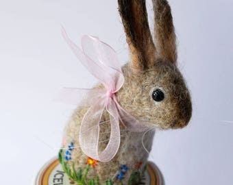 Original Handmade Needle Felted Pale Bunny Pin Cushion