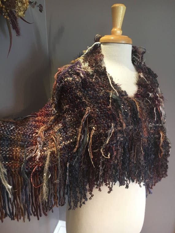 Woven handmade Shag Artistic Poncho with fringe, Shoulder Wrap, 'Rocky Mountain', Fringed Poncho, earth tone, bohemian, knit poncho