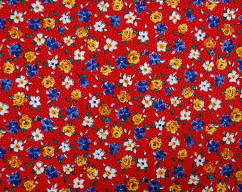"Vintage Red Floral Print 56"" wide x 42"" long"