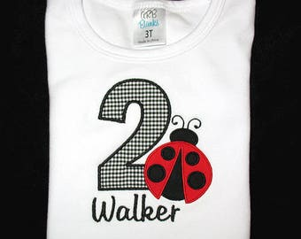 Custom Personalized Applique Birthday Number LADYBUG and NAME Shirt or Bodysuit - Red and Black Mini Gingham