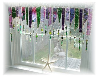 Garden Party NUMBER ONE Green and Lilac Frit Glass Stained Glass Window Treatment Kitchen Valance Curtain