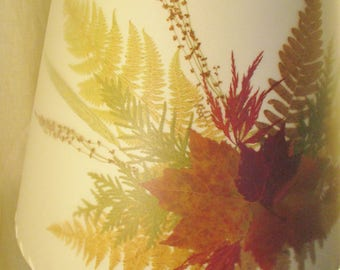 Woodland Fern Lamp Shade, Pressed Fall Colors Leaf Lampshade, Botanical Lampshade, Rustic Autumn Decor, Maple Leaf and Fern Lamp Shade