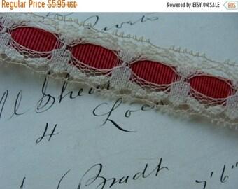ON SALE 2 Yards Vintage Victorian Ribbon Lace Yardage