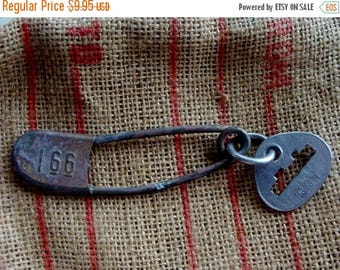 ONSALE One Antique Laundry Metal Embossed Pin  Laundry Pin