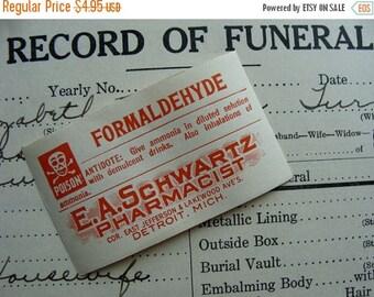 ONSALE Antique Formaldehyde Pharmacy Gummed Labels