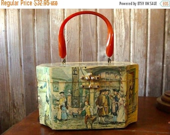 ONSALE Gorgeous Vintage Mid Century Couture Marketplace Top Handle Wooden Boxed Purse
