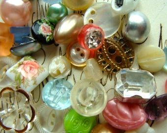 3 Dozen Gorgeous Antique Buttons Vintage Glass Buttons Rhinestone Wedding Small Button Jewelry Collection Lot N0 964