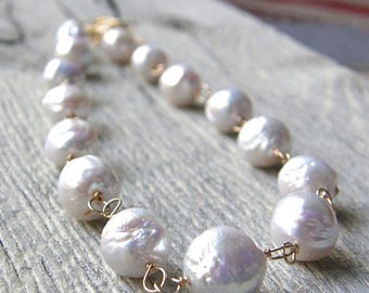 Summer Sale 20% Off Not Your Mothers Pearls, Large Pearl and Gold Chain Necklace, Bridal Necklace
