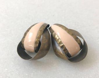 Until Then earrings / hammered brass earrings / enamel earrings