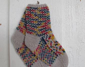 Handknitted norwegian socks in beige and multicolor for children