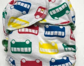 MamaBear One Size Fitted Cloth Cotton Flannel Diaper - Primary Busses