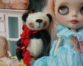 "OOAK Artist Panda Bear - TRENT - 4.5"" Tall Mohair Collectible Teddy Bear"