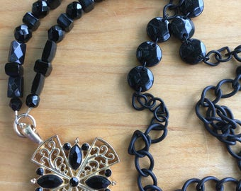 Black and Gold Cross Necklace Long Length Chain with Glass Beads Cross Pendant