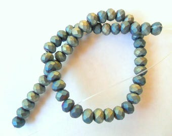 Raku Inspired Glass 8mm Faceted Round Beads Strand, 16""