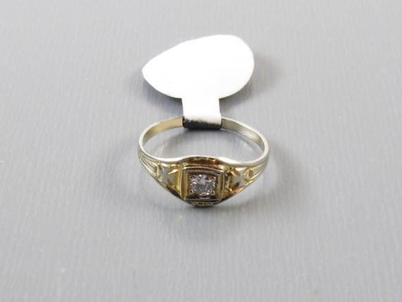 Antique Edwardian 10k gold diamond ring / pinky ring / midi ring, size 1/2 / baby ring / knuckle ring / Maltese cross
