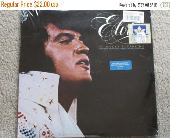 Christmas in July Sale 1978 Elvis Presley vinyl LP record gospel He Walks Beside Me RCA AFL1-2772 mint sealed original price tags / Limited
