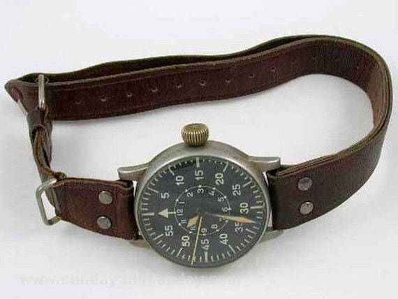 Very scarce vintage A Lange and Sohne Air Observers 55mm watch, 100% original with dossier
