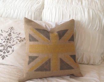 Burlap  Union Jack/British  Flag Pillow   Farmhouse/Rustic/Cottage Chic Decor