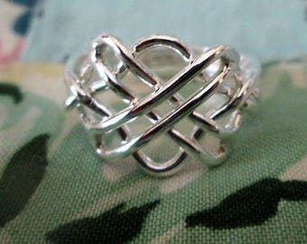 RING - 4 BAND - Woven - PUZZLE - Wired together - 925 - Sterling Silver -- Vintage - 9 misc500