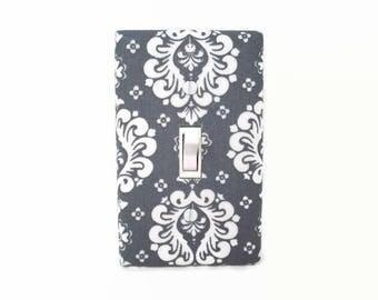 Damask Light Switch Cover - Dark Grey Damask Switch Plate - Gray Damask Nursery Decor - Damask Outlet Covers - Damask Light Plate