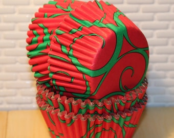 Red & Green Swirl Foil Cupcake Liners (Qty 32) Red and Green Swirl Foil Baking Cups, Reynolds Foil Cupcake Liners