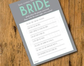 10% Sale INSTANT UPLOAD - Bridal Shower Game - Here Comes The Bride -  Turquoise Wedding Shower Game, Bridal Shower Game, Bridal Game, Bride