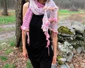 hand knit long soft art yarn oversize luxury gypsy boho  scarf -  drama princess scarf