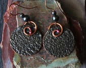 Mixed Metal Earrings Rustic, Handmade Hammered Texture Tribal Bohemian Copper  Metalwork Coins Mixed Metal Earrings Jewelry Gifts For Her