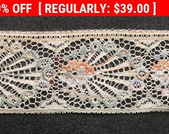 Antique Edwardian Lace Trim Embroidered