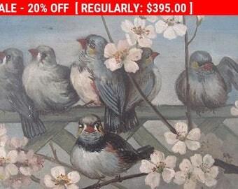 Antique Birds Painting Oil Victorian