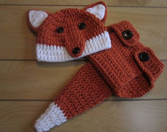 Baby fox photo prop hat diaper cover