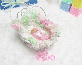 Miniature  Bundled Baby  in Vintage Miniature Wire Baby Carriage