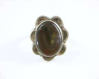 Size 7 1/4 Vintage Sterling Silver Iridescent Fire Agate Ring