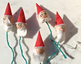 Santa ornaments, Christmas, Ornaments, Vintage, Santas Big and little, set of 6