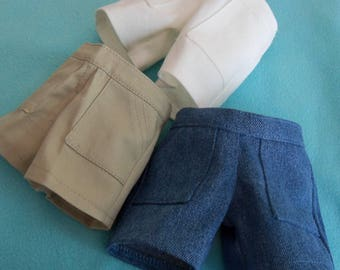 18 inch Doll Shorts in Khaki, White Denim or Faded Denim