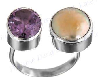 Cool Amethyst Biwa Pearl 925 Sterling Silver Sz 6 Ring