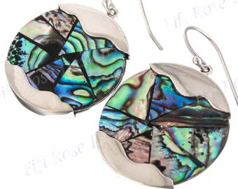 "1"" 925 Sterling Silver Genuine Paua Abalone Shell Mosaic Drop Earrings"