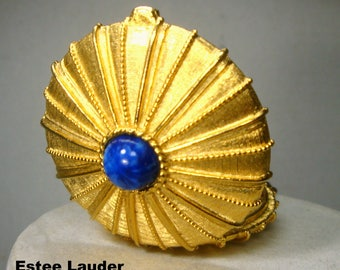 Estee Lauder Gold Hinged EMPIRE Perfume Pendant on Chain, 1973, Faux Blue Lapis Lazuli Stone, Art Deco, This Held Solid Perfume