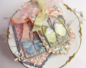 Shabby Chic Cloche Butterfly Gift Tags~set of 2~French inspired~butterfly~cloche cover~apricot~yellow~blue~green~lavender