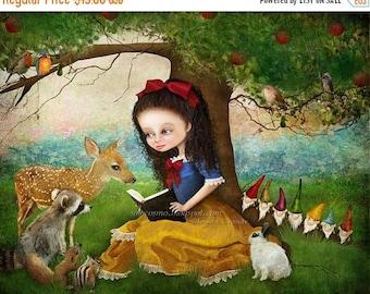 "50% Off SALE Fine Art Print 8.5x11 or 8x10  - ""Snow White"" - Medium Sized Premium Art Print - Fantasy Fairy Tale - Nursery Room Art - Dwarve"