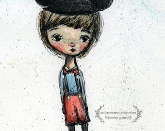 "50% Off SALE Art Print - ""Happy Boy"" - Medium Sized Fine Art Print - 8.5x11 or 8x10  Premium Giclee Print - Watercolor painting"