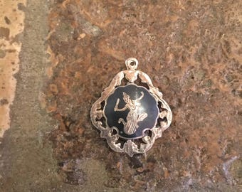 Oriental Dancer Tiny Pendant Blue and Gold